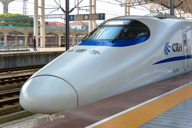 日本のE2系がベースのCRH2型@丹陽駅